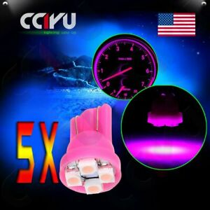 5x T10 4-3528 SMD Led Pink Instrument Cluster Dashboard Light Bulbs 168 194 New