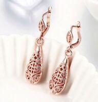 18K Rose Gold Plated Filigree Water Drop Leverback Dangle Drop Earrings