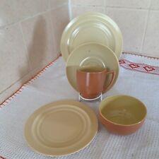 More details for branksome china orange/cream two tone trio, spare plate and sugar bowl