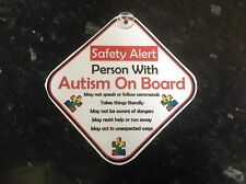 car sign person with autism on board safety sign