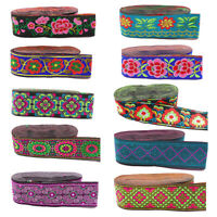 1M Flower Embroidered Trim Ethnic Lace Ribbon Clothing Sewing DIY Accessories