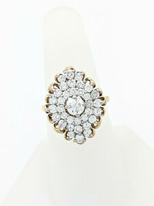 18K Yellow Gold and Platinum 1.5ctw Diamond Cluster Ring SI1/H