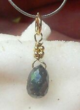 RARE NATURAL FACETED GRAY DIAMOND 1.1ct BRIOLETTE TEARDROP 14K GOLD PENDANT