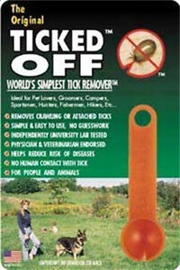 TICKED OFF TICK REMOVER ORANGE ORIGINAL TICK REMOVAL. FREE SHIPPING TO THE USA