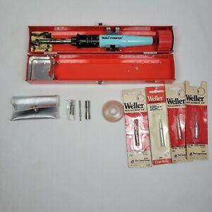 WELLER Cordless Soldering Iron Kit Pyropen Butane WSTA3 w/ Case Plus extras