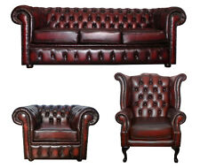 Chesterfield Three Seater Sofa with Queen Anne & Club Chair Antique Oxblood Red