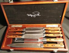 Wolfgang Puck Knife Set Carving Fork Meat and Steak Knives 8 pc in wood gift box