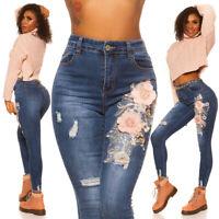 Jeans High Waist Damen Skinny Jeans Jeanshose Used Look mit Blumen Stickerei