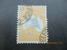 Kangaroo Stamps: 5/- Yellow 1st Watermark Used   -    (n15)