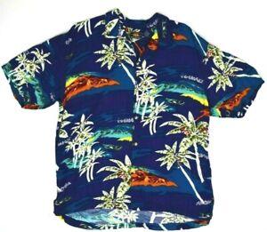 Vtg R 66 Rayon Hawaiian Shirt M/L 90s Dk Blue Hawaii Kurt Cobain Aloha Grunge