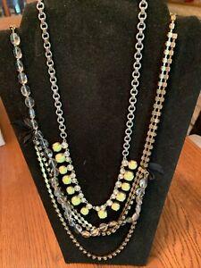 J. Crew Lot Of 2 Statement Necklaces Rhinestone Glass Art Deco Revival