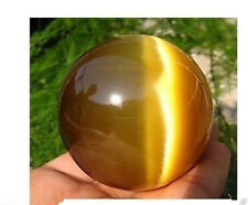 Rare Natural Quartz Yellow Cat Eye Stone Crystal Healing Ball Sphere 40mm +Stand