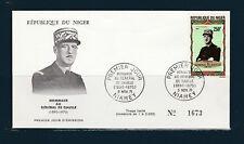 Niger  enveloppe 1er jour  général De Gaulle  poste aérienne 163 de 1971