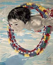 Loulou PICASSO - Boy Swimming - RARE ORIGINAL 1980's ART PRINT POSTER