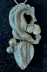 Amy Kahn Russell Druzy SeaHorse Pearls Sterling Silver Pin Pendant