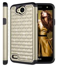 LG X Power 2 Rhinestone Crystal Bling Rubber Armor Impact Hybrid Case - Gold