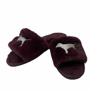 PINK Victoria's Secret Burgundy Limited Edition Embroidery Fluffy Slippers Small
