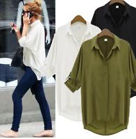 Women Long Sleeve Loose Top Chiffon Blouse Ladies Oversized Casual T-Shirt S-4XL