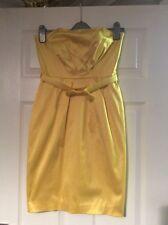 Dorothy Perkins Yellow Strapless Dress Satin Look Size 10vgc