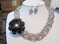 Grey Clear Faceted Lucite Bead Black Lucite Side Flower Necklace Earring Set
