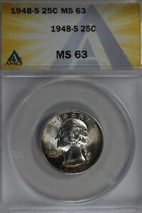 1948-S  .25   ANACS   MS 63   Washington Quarter, Silver 25 Cents (0.25)