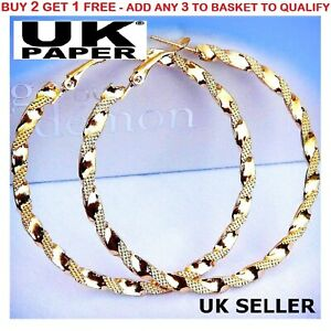 NEW PAIR OF BIG GOLD PLATED HOOP EARRINGS LARGE CIRCLE CREOLE CHIC HOOPS GIFT UK