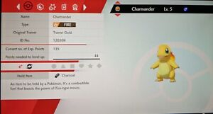Shiny Charmander 6IV Max EVs Competitive Pokemon Sword Shield FAST DELIVERY