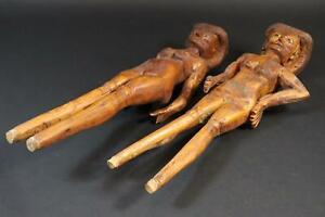 Mann & Frau 2x geschnitzte Holzfigur Marionette (CP554)