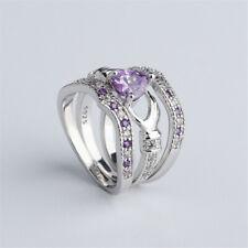 3Pcs Women Luxury Heart Amethyst Silver Wedding Ring Bridal Set Size 10