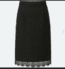 Womens Uniqlo Black Lace Knee Length Pencil Skirt Size XS NWT