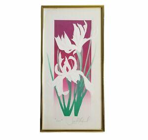 """Iris"" Signed by Artist David Allgood Rare Framed Floral Embossed Serigraph Art"