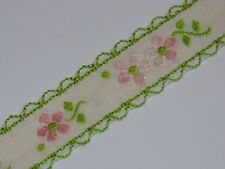 LIGHT BLUE WITH FLOWERS vintage jacquard ribbon traditional pattern 17mm R015