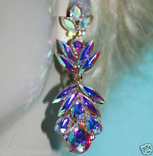 Chandelier Earrings Rhinestone Austrian Crystal Bridal Prom Pageant 2.9 in AB