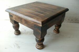 Chunky wooden mango wood stool footstool
