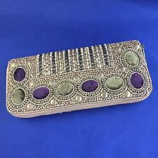 Bougainvillea Boutique ~ Gold Beaded Wallet with Purple & Green Accents ~ NEW!