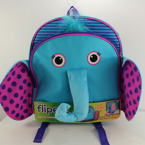 Flipeez Backpack Elephant's Trunk Flipsup Strap Padded Childrens Day Bag