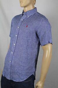 Ralph Lauren Blue Checkered Classic Linen Dress Shirt Red Pony NWT
