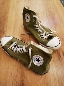 Converse Chuck Taylor Vintage All Star Hi-Top Unisex Trainers GREEN UK 9