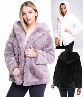 Womens Faux Fur Coat Black White Grey Hood Jacket Size 8 10 12 14