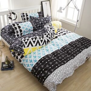 Geometric Pattern Bedding Set Duvet Quilt Cover+Sheet+Pillow Case Four-Piece Hot