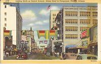 Phoenix, ARIZONA - Central Avenue - 1940 - signs, Coca Cola, cars, flags - LINEN