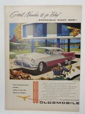 Original Print Ad 1955 OLDSMOBILE 88 Vintage Artwork Two Tone Country Club