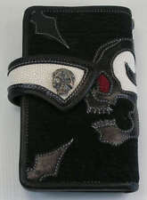 CUSTOM SKULL GENUINE STINGRAY SHARK SKIN LEATHER MENS WALLET BIKER REAL NEW