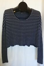 ERYN BRINIE Size XS Gray Blue Striped Cropped Long Sleeve Knit Sweater Top Boxy