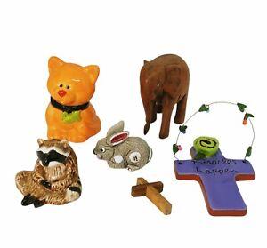 Sandra Magsamen Plaque Cross & Animal Figurine 6 Piece Lot - 1 Disney - NR
