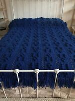 "Full Size Blue Hand Knitted Afghan popcorn stitch 76"" L X 53"" W (New)"