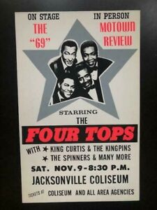 """1969 """"Motown Revue"""" ORIGINAL Boxing Style Concert Poster Featuring The Four Tops"""