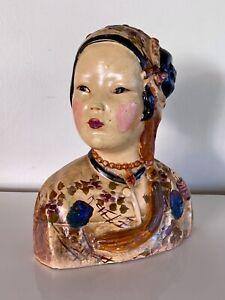 VTG Joe Celona Chinese Girl Chalkware Bust