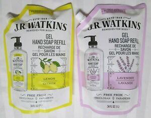 J.R. WATKINS Lemon or Lavender Scent Hand Soap Refill Gel 1 L (34 OZ)
