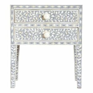 Bone Inlay Floral Design Wooden Bedside Table